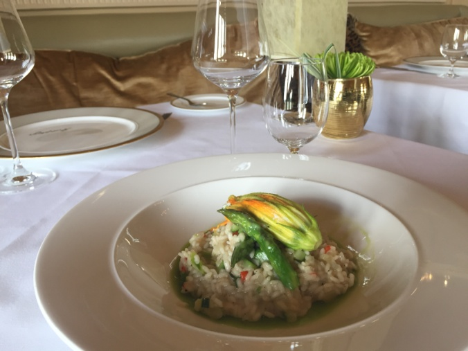 Courgette, Chilli and Asparagus Risotto with Ricotta Cheese and Chervil filled Courgette Flower